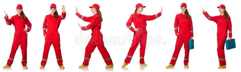 Женщина в красных прозодеждах изолированных на белизне стоковые изображения rf