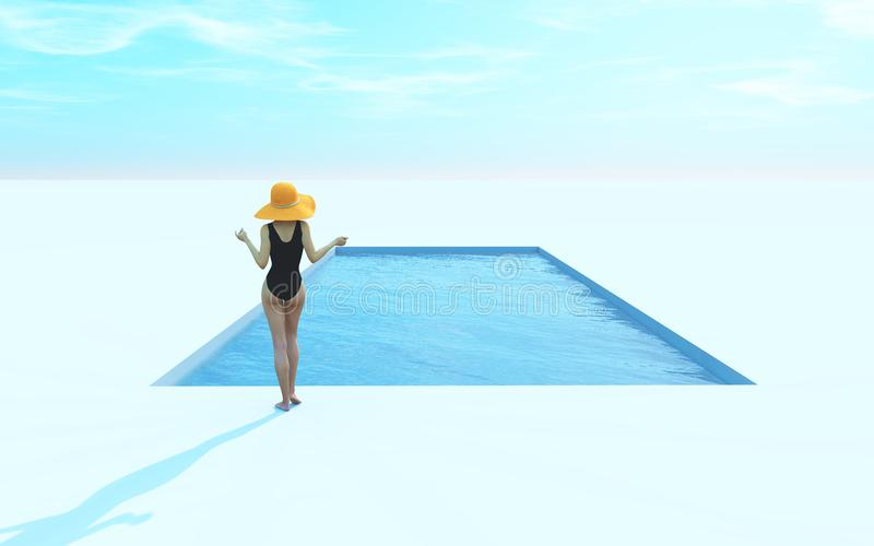 Женщина в купальнике и шляпе около бассейна иллюстрация штока