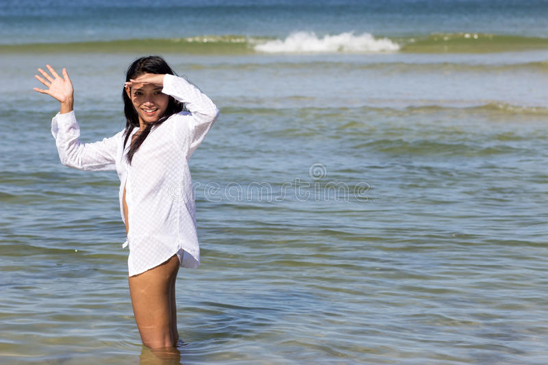 Женщина в море стоковая фотография rf