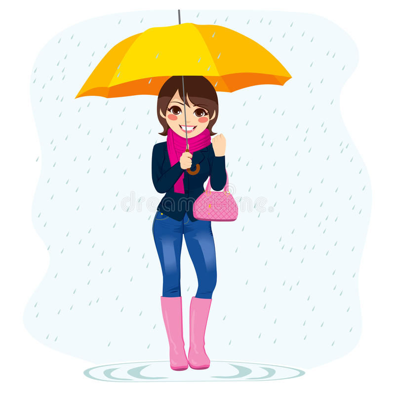 Женщина в дожде иллюстрация вектора