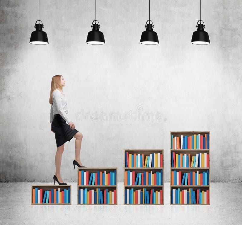 Женщина в официально одеждах идет вверх на книжные полки Концепция различного уровня образования Конкретная комната с 4 черный c стоковое фото