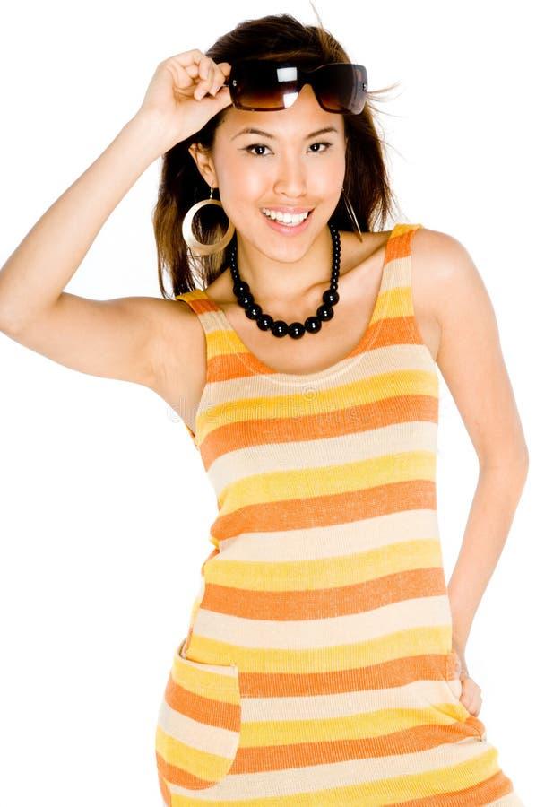 Женщина в платье лета стоковое фото rf