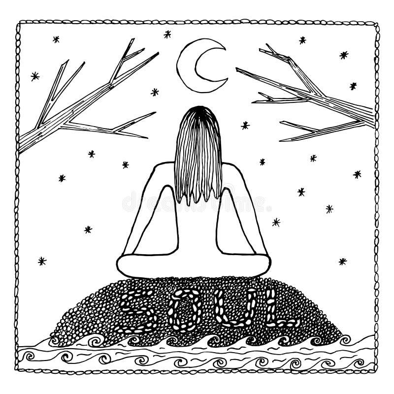 Женщина в положении лотоса йоги для раздумья Для студии йоги логотипа, открыток, и взрослой книжка-раскраски бесплатная иллюстрация