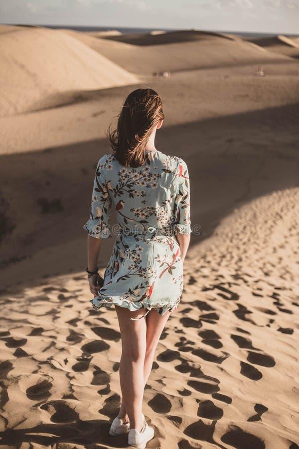 Женщина в пустыне со славным флористическим платьем смотря горизонт стоковое изображение rf