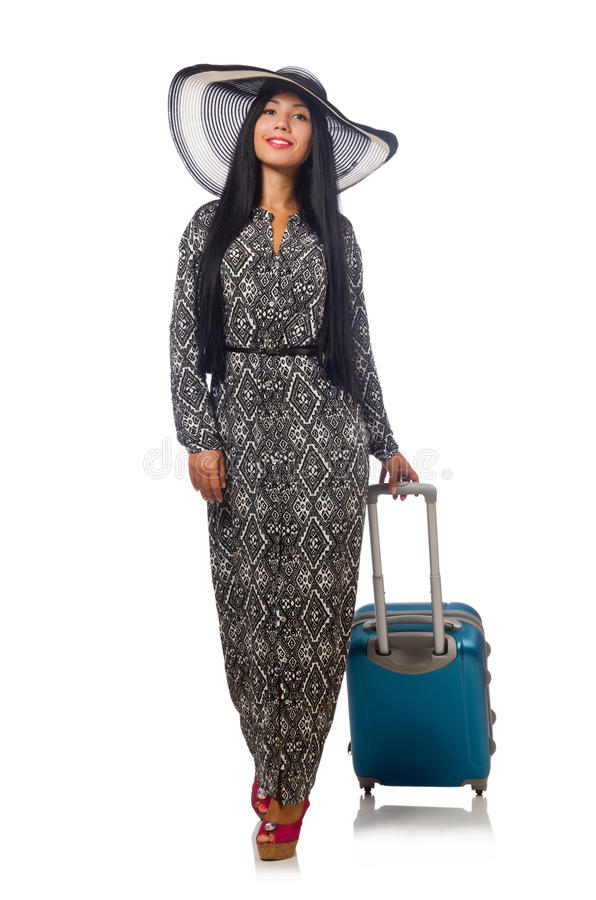 Женщина в путешествовать концепция на белизне стоковая фотография