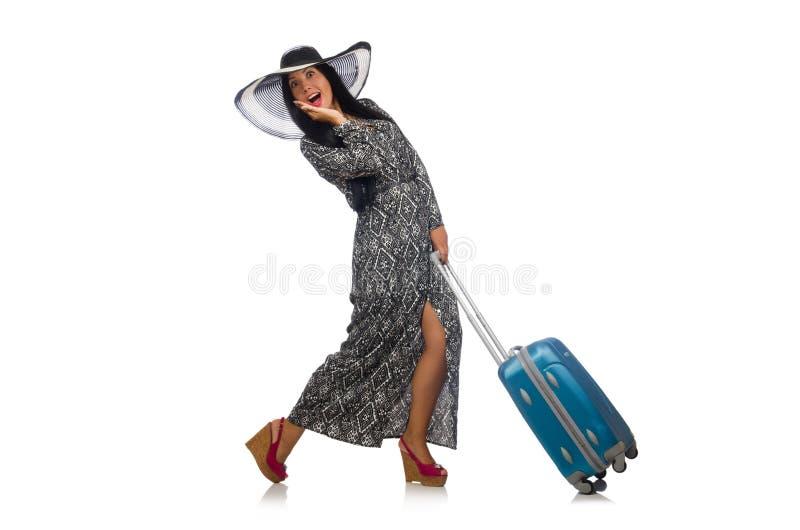 Женщина в путешествовать концепция на белизне стоковые изображения rf