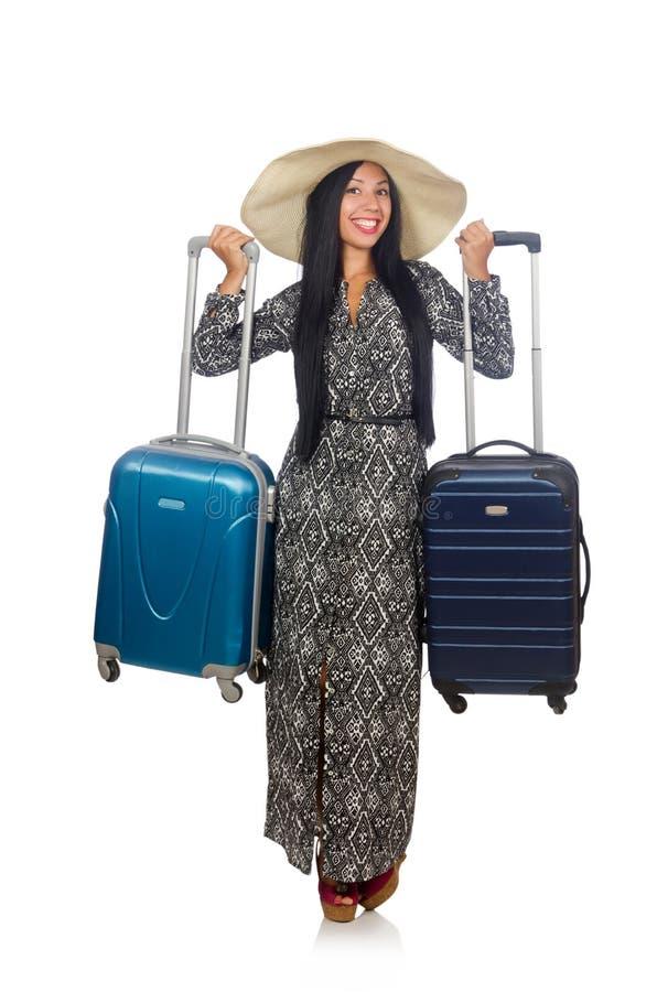 Женщина в путешествовать концепция на белизне стоковое фото rf