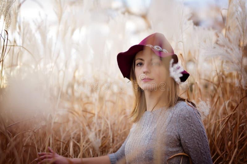 Женщина в пшеничном поле на заходе солнца стоковые фото