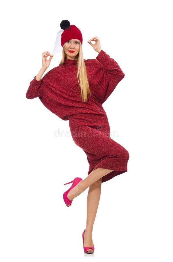 Женщина в платье bordo изолированном на белизне стоковая фотография rf