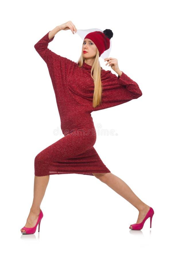 Женщина в платье bordo изолированном на белизне стоковая фотография
