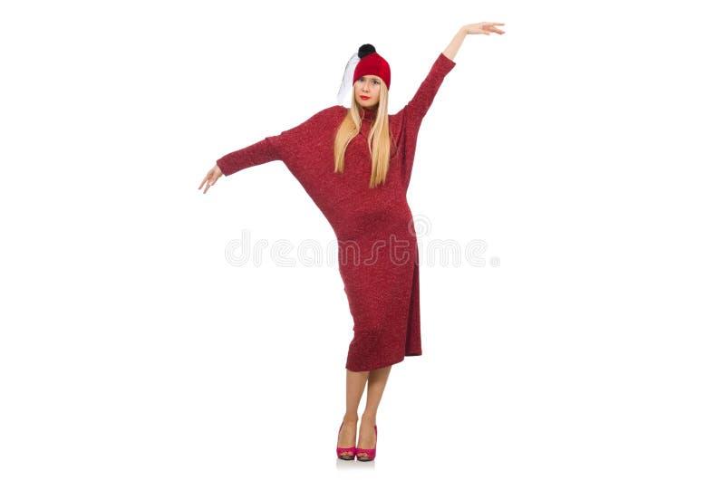 Женщина в платье bordo изолированном на белизне стоковое изображение rf