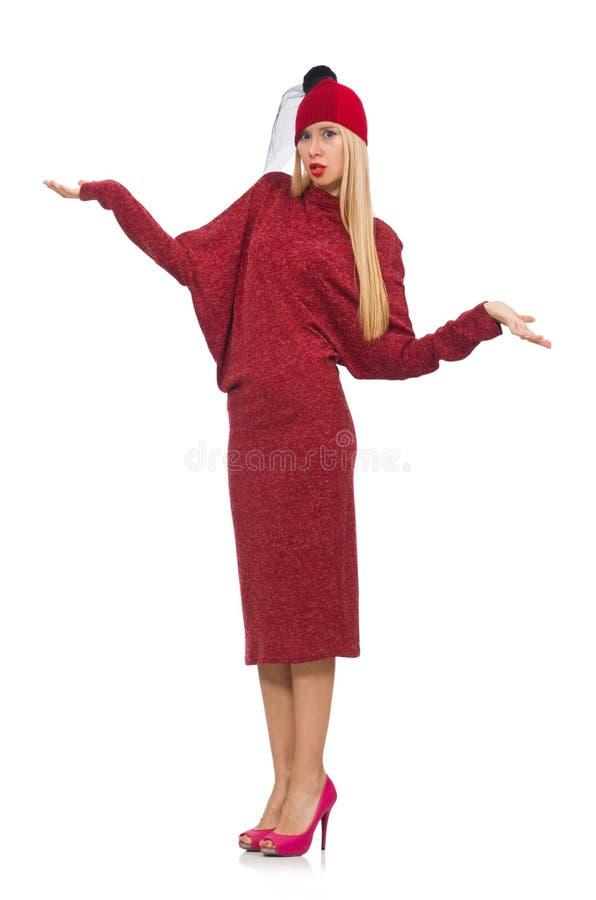 Женщина в платье bordo изолированном на белизне стоковые фото
