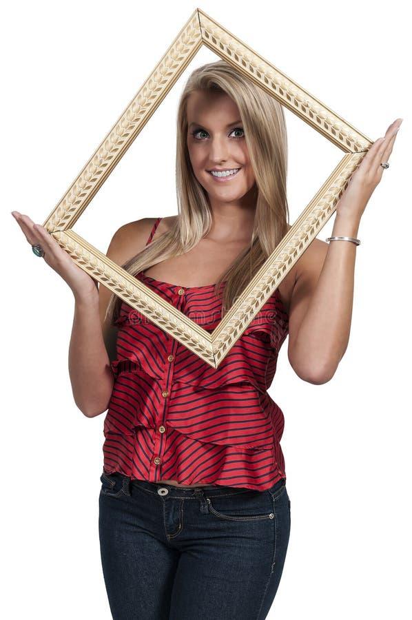 Женщина в рамке стоковые фотографии rf