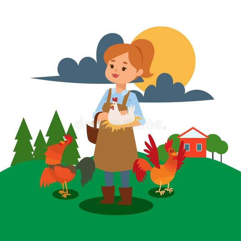 Женщина в реальном маштабе времени и работа на иллюстрации вектора фермы Плакат девушки птицефермы Продовольственный магазин счас бесплатная иллюстрация