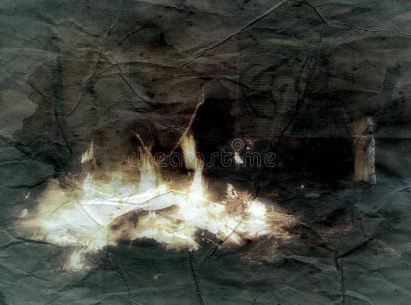 Женщина в сари на погребальном костре, ретро стоковые фото