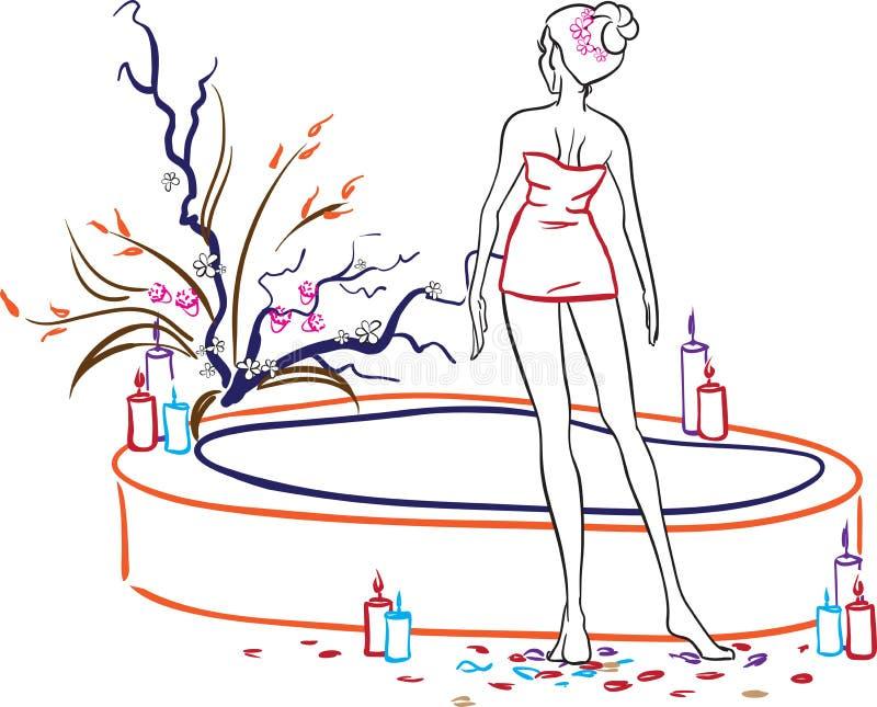 Женщина в салоне спы бесплатная иллюстрация