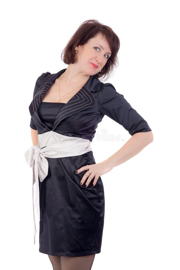 Женщина в синем платье стоковые фотографии rf
