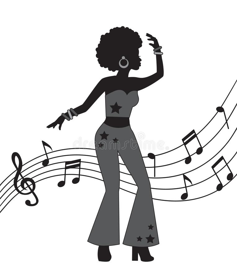 Женщина в стиле диско иллюстрация штока