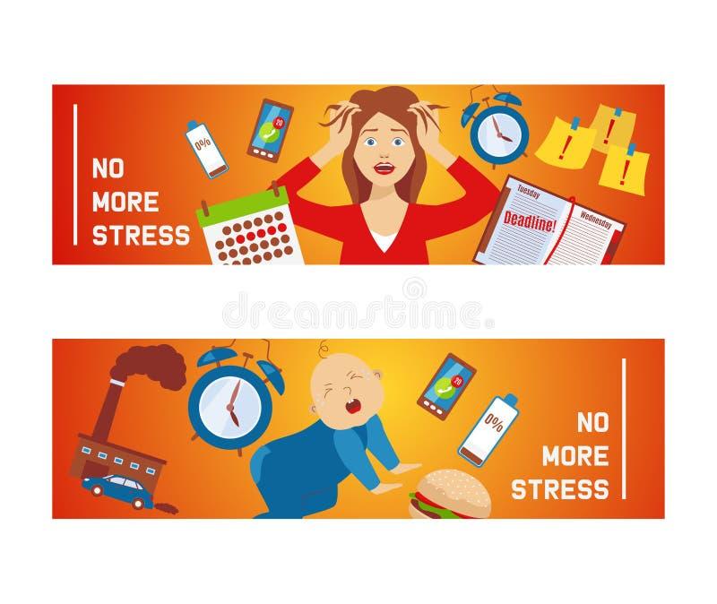 Женщина в стрессе и панике, окруженных иллюстрацией работы и вектора знамен значков факторов стресса Женский характер бесплатная иллюстрация