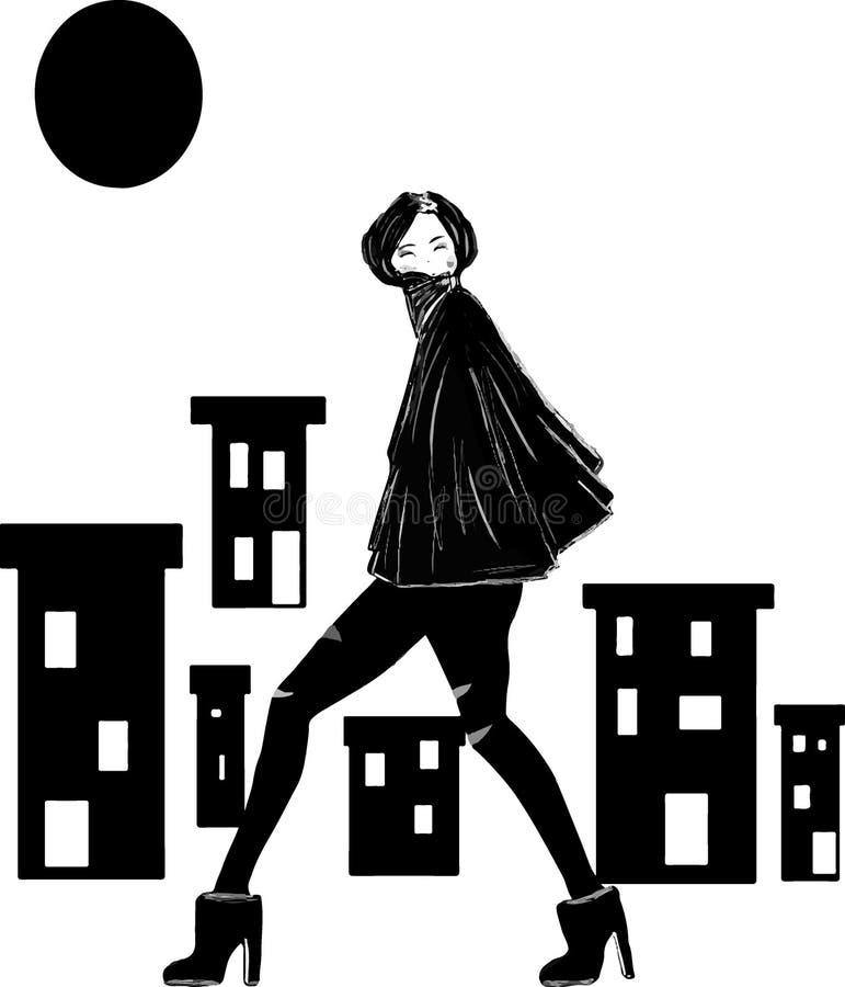 Женщина в темном городе стоковая фотография rf