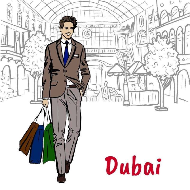 Женщина в торговом центре в Дубай иллюстрация штока