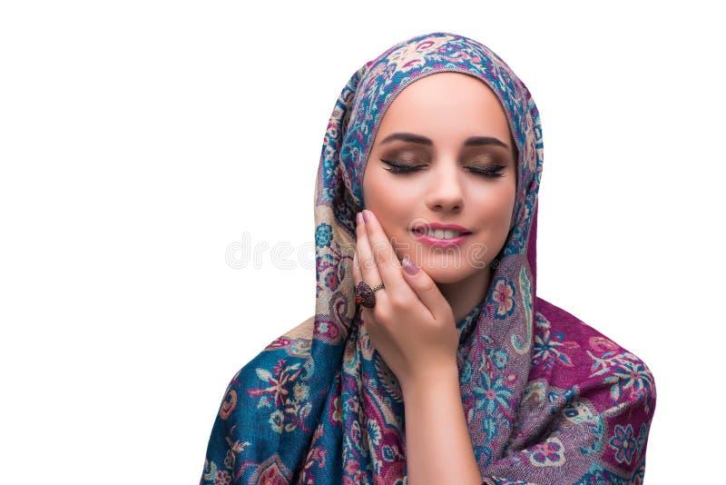 Женщина в традиционной предусматрива мусульман с кольцом стоковое изображение rf