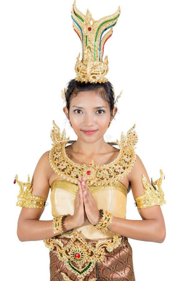 Женщина в традиционном тайском костюме стоковые изображения rf