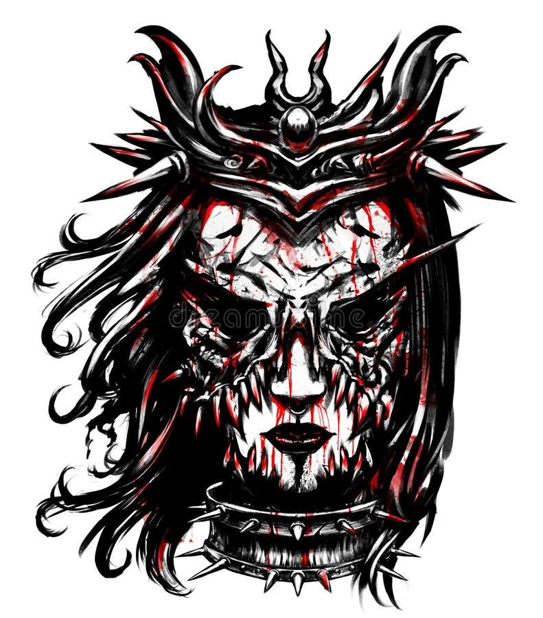 Женщина в ужасая маске бесплатная иллюстрация