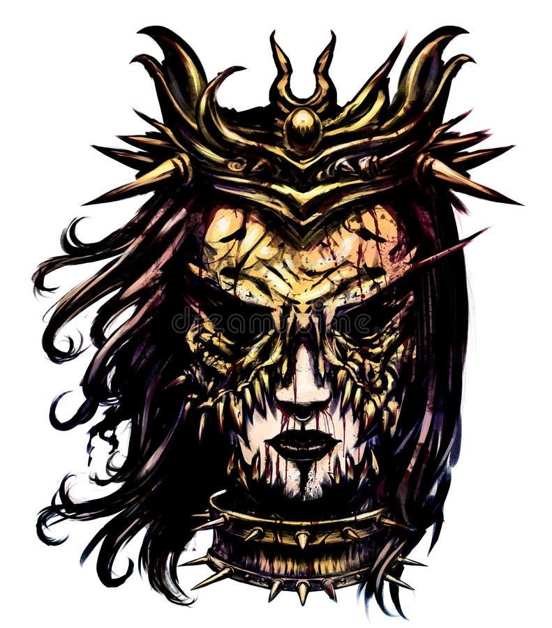 Женщина в ужасая маске иллюстрация штока