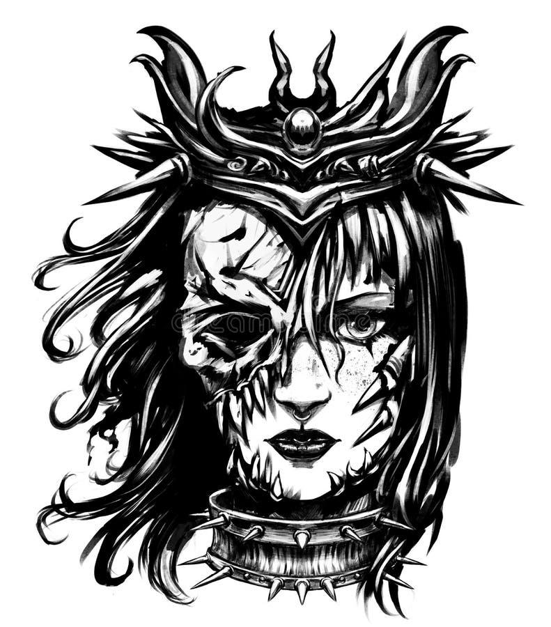 Женщина в ужасая маске иллюстрация вектора