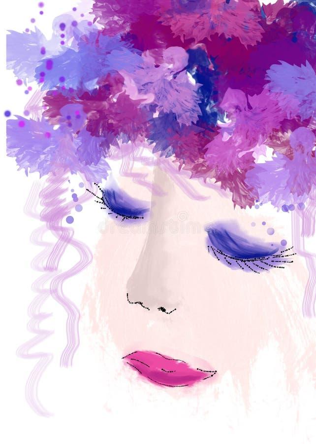Женщина в фиолетовых цветах стоковое фото