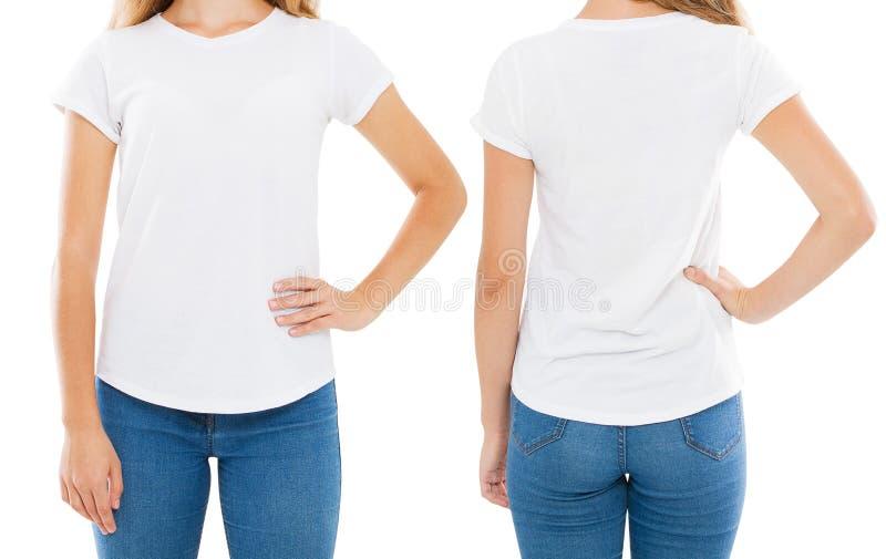Женщина в футболке изолированной на белом фронте предпосылки назад стоковые фотографии rf