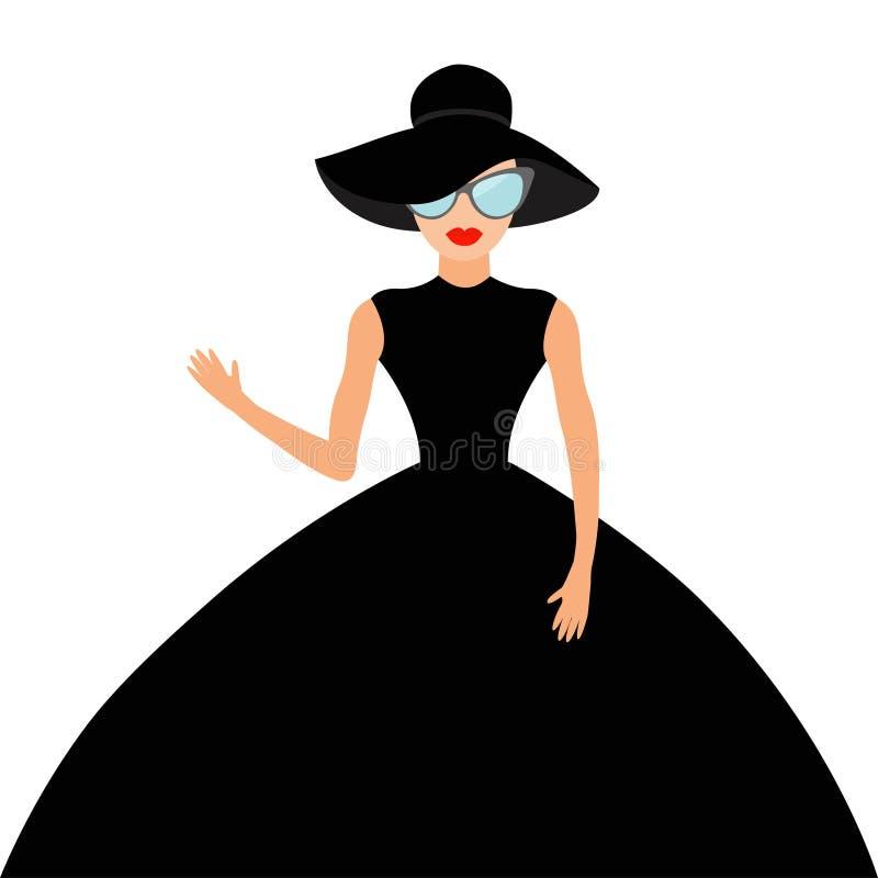 Женщина в черной элегантной шляпе и большом платье, развевать солнечных очков иллюстрация штока
