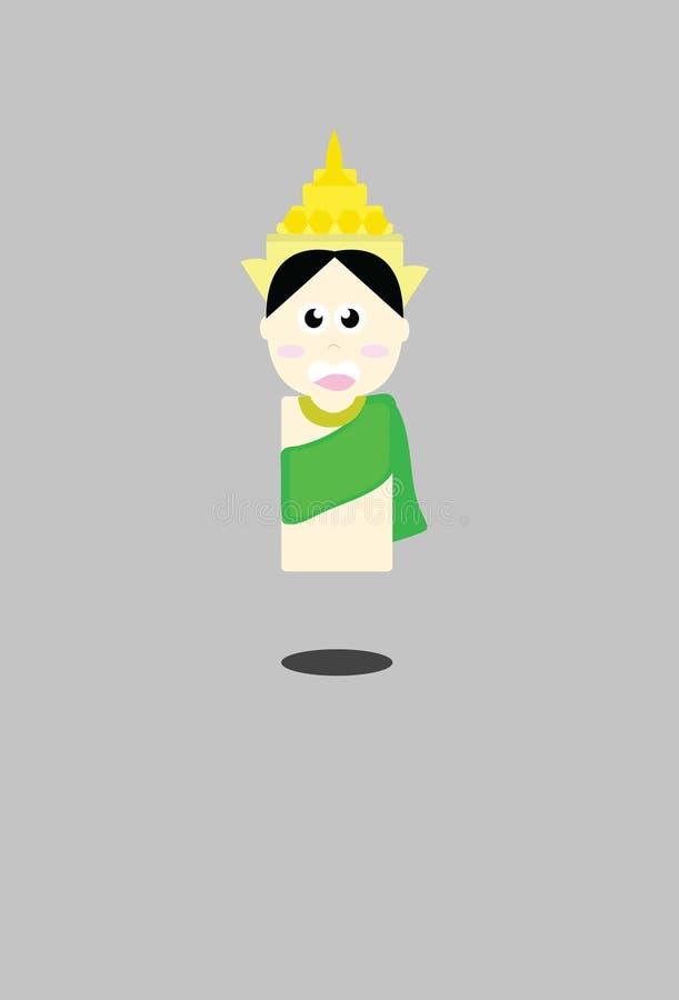 Женщина в шарже Таиланда милом иллюстрация вектора