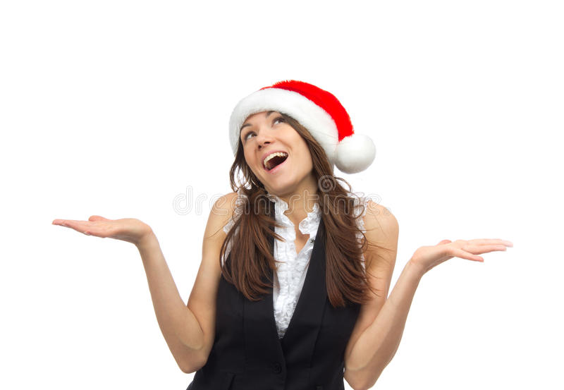 Женщина в шлеме Santa Claus стоковое фото rf