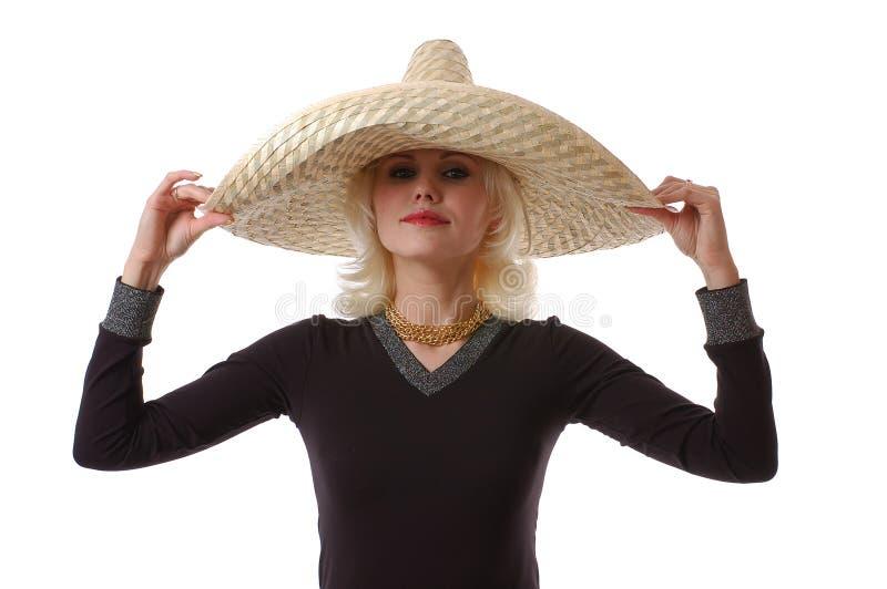 Женщина в sombrero стоковые фото