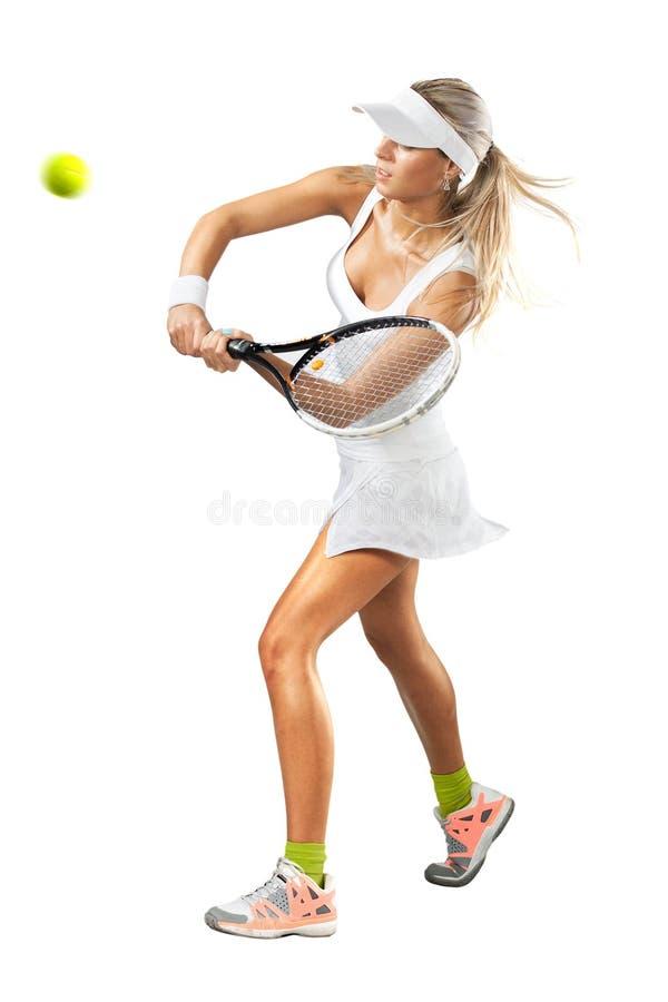 Женщина в sportswear играет теннис на тренировке стоковое фото