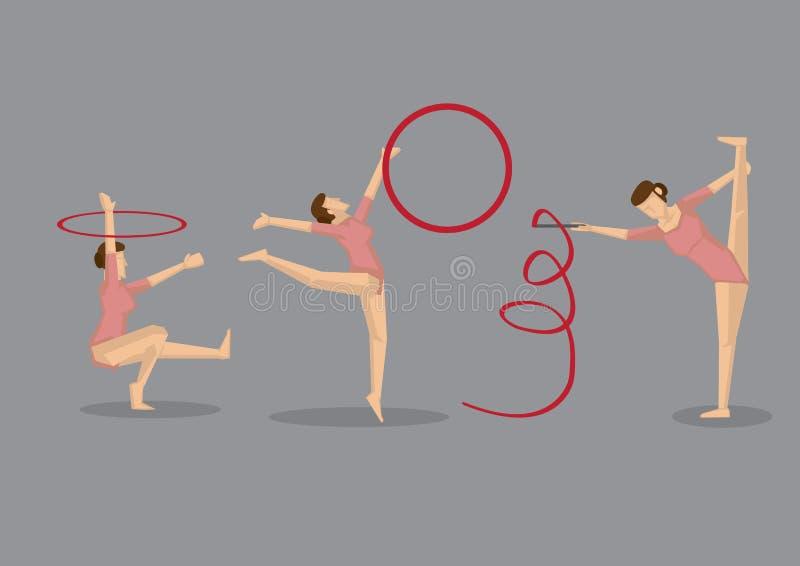 Женщина гимнаста выполняя гимнастические вольные упражнения бесплатная иллюстрация