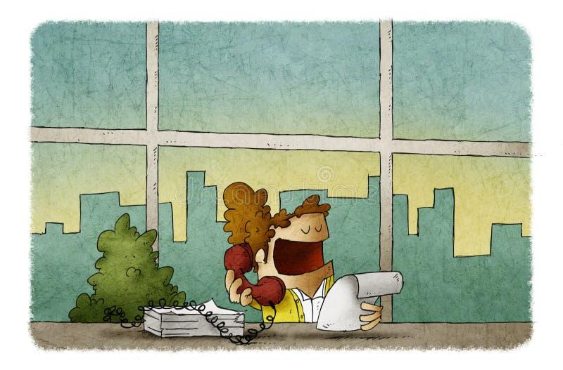 Женщина говоря телефоном пока работающ в офисе иллюстрация штока