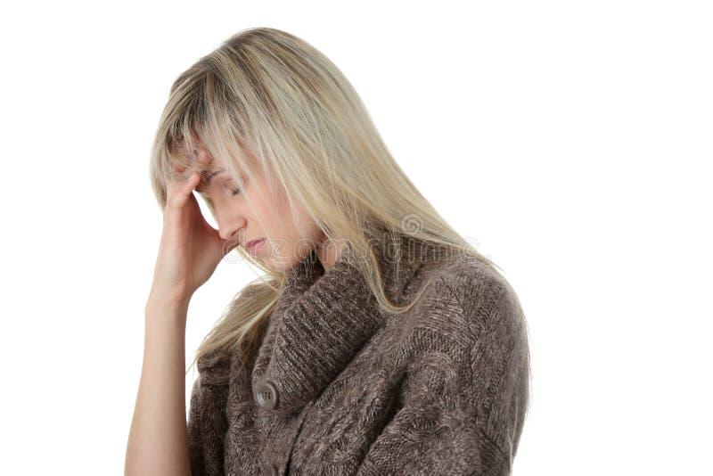 женщина головной боли стоковая фотография rf