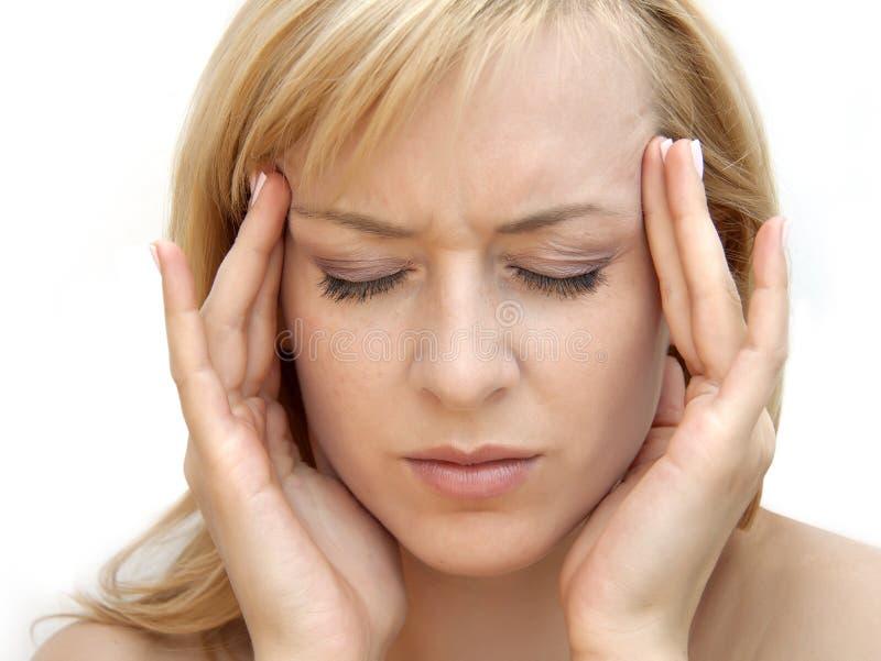 женщина головной боли стоковое фото