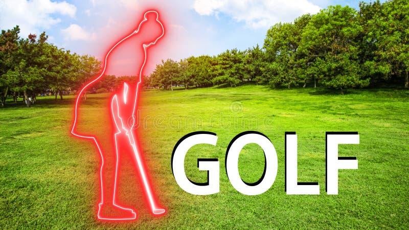 Женщина гольфа 005 играя Silhuette стоковое изображение rf