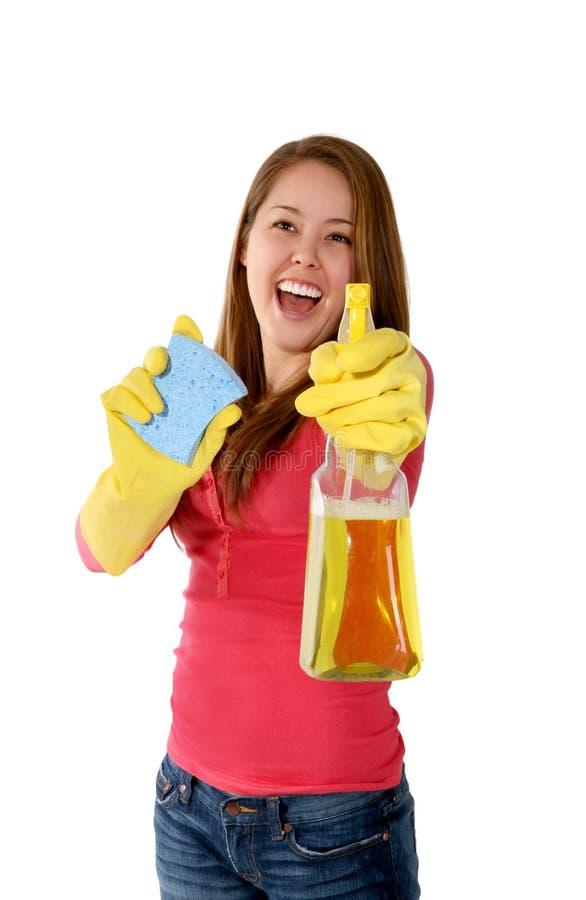 женщина горничной чистки стоковое изображение