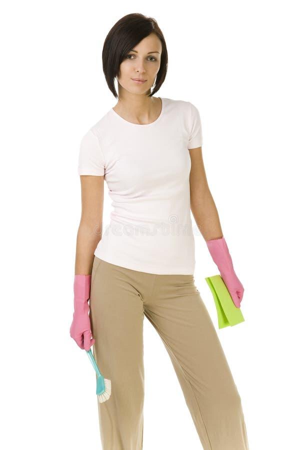 Женщина готовая для того чтобы очистить вверх стоковое фото