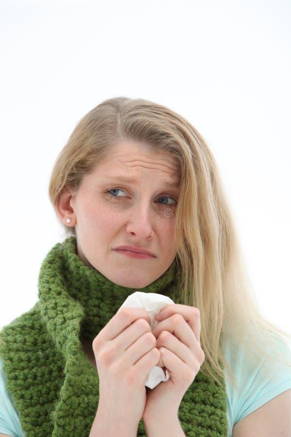 женщина гриппа горемычная стоковое фото