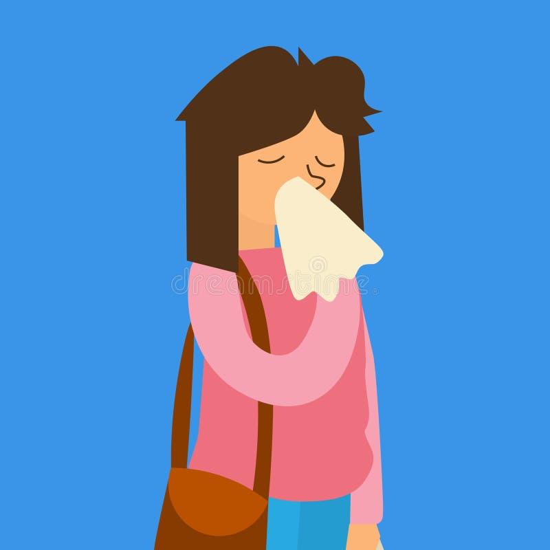 Женщина гриппа шаржа больная вектор иллюстрация вектора