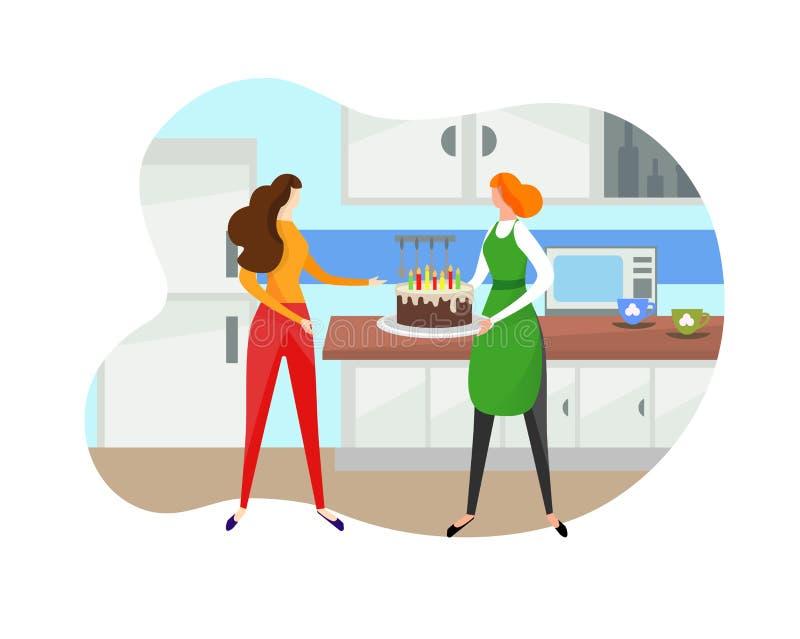 Женщина давая именниный пирог девушке на кухне иллюстрация вектора