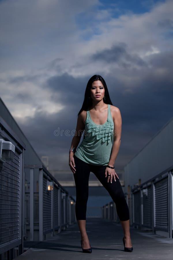 женщина двадчадк азиатского привлекательного островитянина Тихая океан стоковое изображение rf