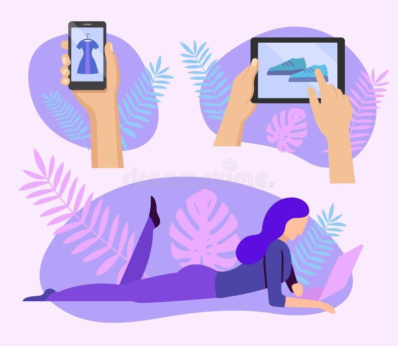 Женщина делая онлайн покупки дома иллюстрация штока