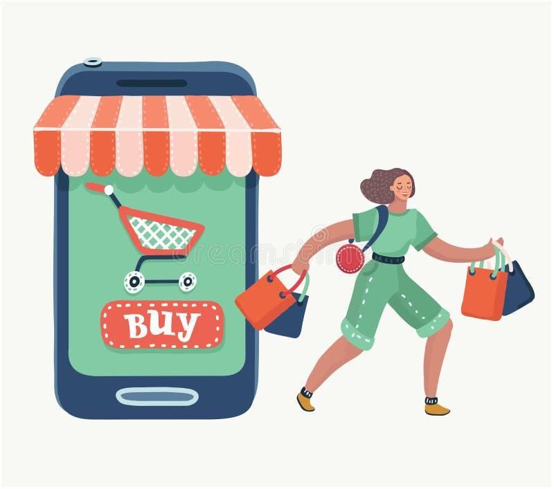 Женщина делая онлайн хозяйственную сумку бесплатная иллюстрация